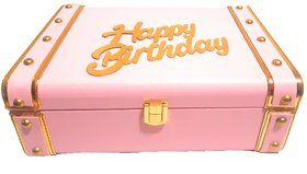 DURGA RATAN pink Leather trunk box special HAPPY BIRTHDAY and jewellery LEATHER TRUNK BOX