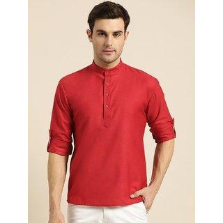 Red Cotton Super Short Kurta