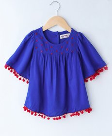 Soul Fairy Bell Sleeve Embroidery Detailed Top