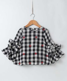 Soul Fairy Bell Sleeve Checkered Top