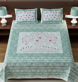 Arnav Apparel COTTON MULTICOLOUR PRINTED KING SIZE DOUBLE BED SHEET WITH PILLOW COVER