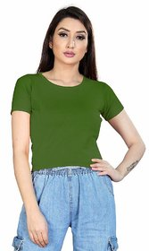 Alposh Slim Fit, Round Neck Stretchable Lycra Short Sleeves Top For Women