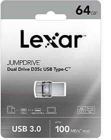 Lexar D35C 64GB OTG Drive  (Silver, Type A to Type C)