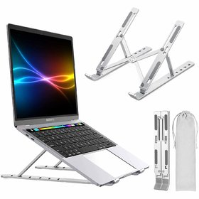 Adjustable 7 Level Height Laptop Stand Aluminium Ergonomic Laptop, Tablet, Mobile Stand Foldable Portable Desktop Holder