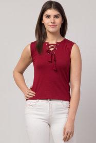 Sleeveless Maroon Color regular length Women top