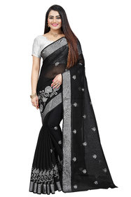 Indian Fashionista Women's Cotton Silk Embroidery Work Saree with Blouse Piece