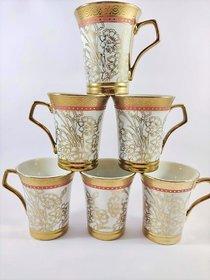 Ceramio fine bone china tea/coffee cups - Golden print with red patta