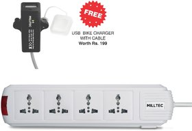 EON 4+1 Power Strip with Master Switch (2 Meter Wire) (USB Bike Charger Free)