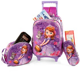 Disney Kids School Trolley Bag with Tiffin And Pencil case, 2Wheel Trolley , Double Stick for luggage carrying (SBT-19)