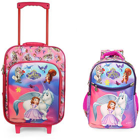 Disney Sofia Kids Trolley Bag with Tiffin & Pencil case, 2Wheel Trolley , Double Stick for luggage carrying (BNB-2)