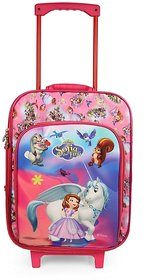 Disney Kids Travel Bag with Sofia print, 1 main compartment, 1 front pocket, Both side handle , 2 Wheel's (DT-9)