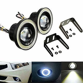 Car Fog Lamp Angel Eye LED DRL Projector Cob Light 89mm (3.5 inches Front) (2.5 inches Back) - Set of 2