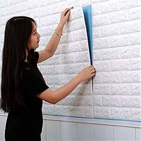 Fortune Industries 3D Washable PE Foam DIY self Adhesive White Brick Wall Sticker for Drawing Room, Living Room Kids Roo