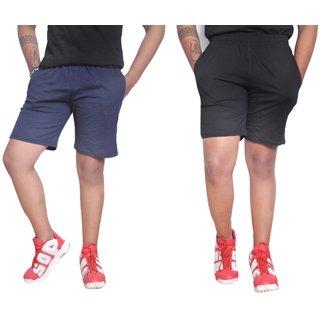 NSZO Men Black & Blue Regular Shorts Pack of 2
