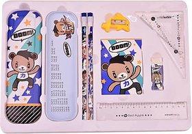 AVMART Boom Bear Complete School Kids Stationery Set for Gift, Geometry Box  (Multicolor)(ABOOMBEARSSETBLUE01A)