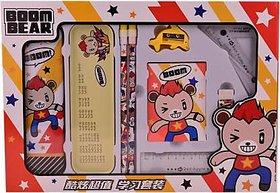 AVMART Red Boom Bear Complete School Kids Stationery Set for Gift Geometry Box  (ABOOMBEARSSETRED01A)