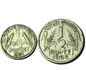 REPUBLIC INDIA OLD COINS - 1/4 AND 1/2 RUPEE COPPER NICKEL COINS - ANTIQUE COLLECTIBLE COINS
