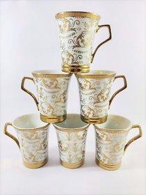 Ceramio fine bone china ceramic tea/coffee cups - Golden floral print