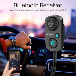 Portronics AUTO 12 in-Car Bluetooth Receiver for Handsfree Calling, Music System, Supports All Smartphones (Black)
