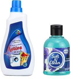 Jeehukm Active Wash Liquid Detergent Your Cloth Look Newer and Shine Longer Time (1 Ltr) With Compliment Soft N Clean Ha