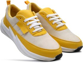 Happy Feet Yellow Sports Running Shoes for Men