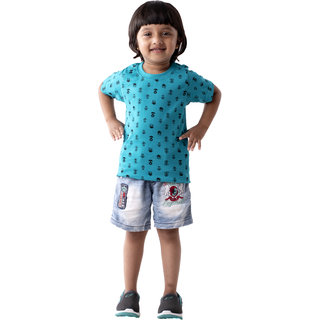 T-Shirt For Kid Girl , Summer Baby Clothes , Blue T-Shirt For Kid Girl
