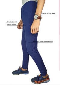 VANTAR Solid Men navy blue Track Pants