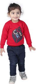 Sweatshirt for Kids Boy, Winter Baby Clothes, Red Sweatshirt For Kids Boy.