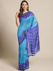 Meia Rama And Blue Bandhej Print Saree