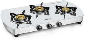 Padmini 3 Burner Glass Cooktop CS 3GT White Curve Manual Ignition