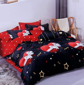 Choco Creation Polycotton Multicolor Double Bedsheet With Pillow Covers