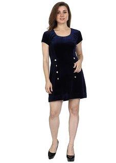 Thrill Velvet Navy Short Seeleve Round Neck Fit And Flare Dress