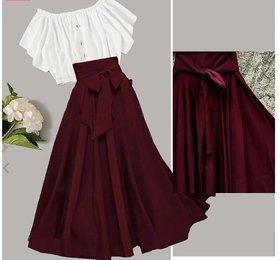 Westchick Women Maroon Basic Skirt & White Top Combo