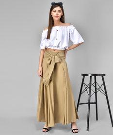 Westchick Women Mud Brown Self Design Skirt & White Top Combo