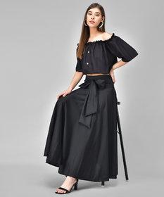 Westchick Women's Black Skirt & Black Top Combo
