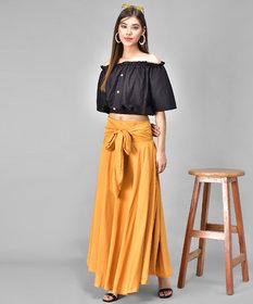 Westchick Women's Mustard Skirt & Black Top Combo