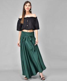 Westchick Women's Green Skirt & Black Top Combo