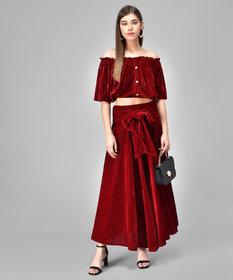 Westchick Women's Maroon Velvet Skirt & Top Combo