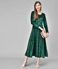 Westchick Women's Round Neck Green Velvet Dress