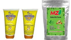2pc Soft Touch Sunscreen SPF 60 Cream 100g + 100g And MZ(Mahavir Zone)Multani Mitti Powder-100g