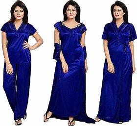 Verdadero presents Women's Satin Nighty 4 Set (Gown, Nighty, Top, Pyjama)(Free-Size 28 to 36 Regular) (blue)
