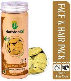 HerbtoniQ 100 Natural Multani Mitti Powder (Fullers Earth/Calcium Bentonite Clay) For Face Pack And Hair Pack