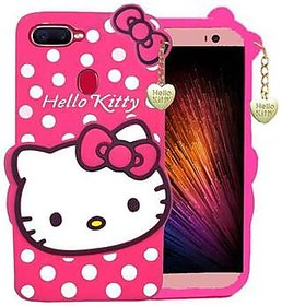 GADGETWORLD Luxury 3D Hello Kitty Silicone Back Cover for Oppo A7  (Pink, Grip Case)