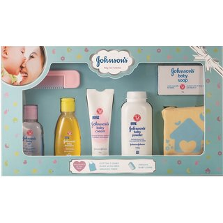 Johnson's Baby Care Collection Baby Gift Box with Organic Cotton 1's