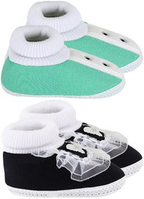 Neska Moda Pack Of 2 Baby Boys & Girls Black And Green Cotton Booties For 6 To 9 Months