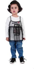 Full Sleeves T-Shirt For Baby Girl, Baby Clothes, White Full Sleeves T-Shirt For Kid Girl