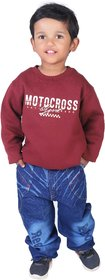Sweatshirt for Kids Boy, Winter Baby Cloths,  Maroon Sweatshirt For Kid Boy