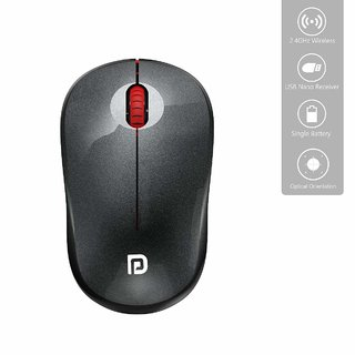 Portronics Toad 12 Bluetooth 2.4G Optical Mouse with Ergonomic Design, USB Receiver for Notebook, Laptop, Computer (Red)