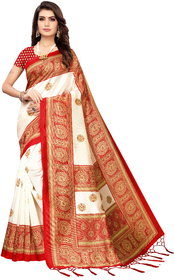 Meia Red Art Silk Printed Saree With Blouse