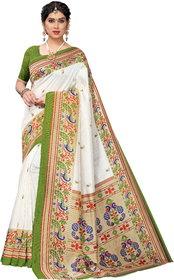 Meia Mehandi Art Silk Printed Saree